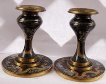 Qing Dynasty Cloisonne Dragon Pearl Candlesticks 1850-1899