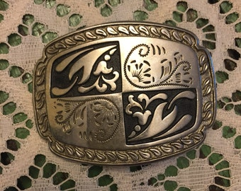 country western belt buckle; silver; vintage