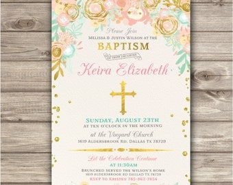 Pink and Gold Floral Baptism Invitations for Baby Girl Faux Gold NV583