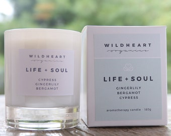 Soy Candle  -  Gingerlily, Cypress & Bergamot, Ultimate Therapy Aromatherapy Candle,