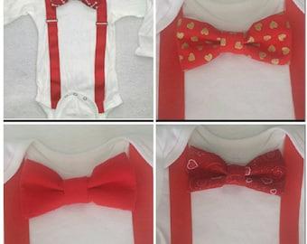 Valentines bowtie onesie with suspenders.  Long or short sleeve
