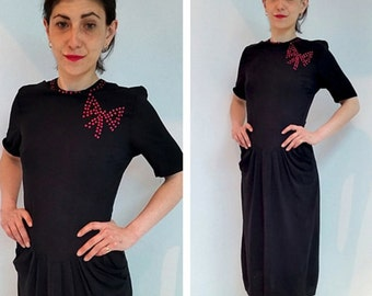1940s vintage black dress with Red studs