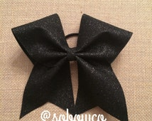 Black Glitter Cheer Bow