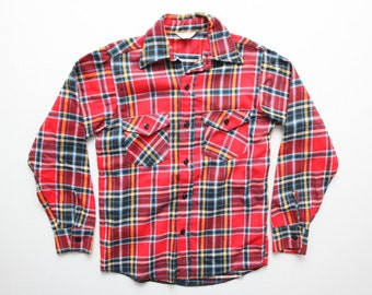 Vintage 60s Frostproof Sanforized Thick Cotton Plaid Flannel Shirt Red Blue Yellow Size 15 / S / M