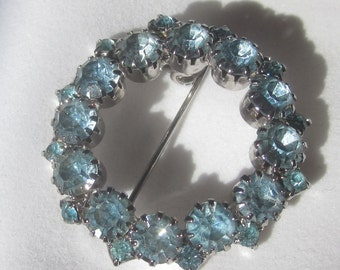LIght Blue Rhinestone Circle Brooch
