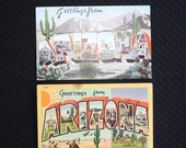 Postcards Arizona Big Large Letter Vintage Linen Finish Set Of Two