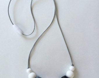 SALE! Silicone Teething Nursing • Bpa-Free Baby Shower Gift - SELECT ONE Geometric Bead Necklace //