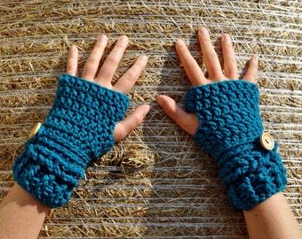 Blue Crochet Handwarmers