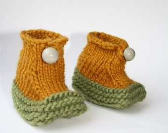 Baby Shower Gift, Wool Booties Hand Knitted Baby Shoes, Crib Shoes, 3-6, Infant Footwear