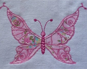 Embroidery of a butterfly in application format 4 x 4 and 5 x 7 for embroidery machine