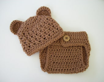 Newborn Photo Prop, Coming Home Outfit, Hat and Diaper Cover, Newborn Bear Hat, Diaper Cover, Bear Beanie, Baby Newborn Hat, Newborn Outfit