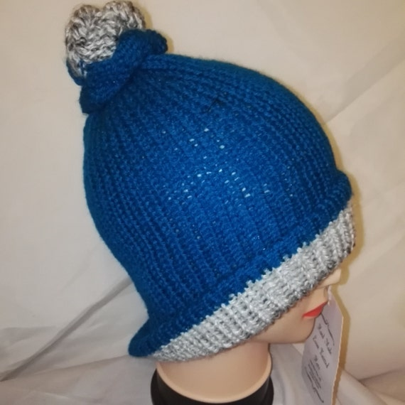 RETRO Blue Grey colour mix Handmade bobble hat double knit extra thick ski snowboard garden one size unisex wool