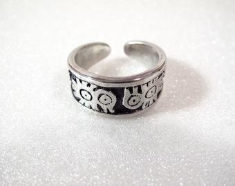 Aztec bird ring for men