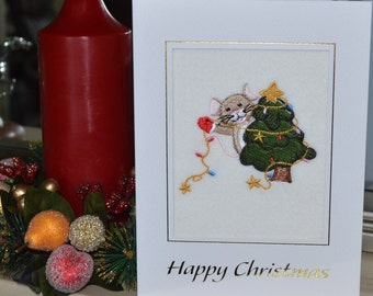 A new machine embroidered hand finished Christmas Card - Mouse With ChristmasTree.