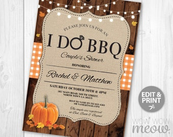 I Do BBQ Couples Shower Invite Fall Pumpkin Engagement Party Invitation INSTANT Download Wedding Rustic Personalize Editable Printable Edit