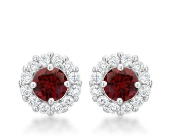 Bella Bridal Garnet Red Earrings   Bridal Earrings with Round Cut Garnet Red Cubic Zirconia and Post Backing