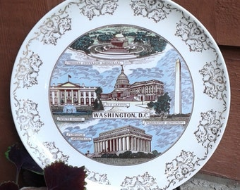 Vintage Kitsch Taylor Smith Taylor WASHINGTON, DC Souvenir Plate, 1950's