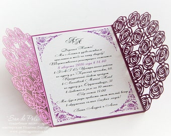 "Wedding invitation Pattern Card 5x7"" Template Roses Lace folds (studio V3, svg, dxf, ai, eps, png, pdf) laser paper die cut Silhouette Cameo"