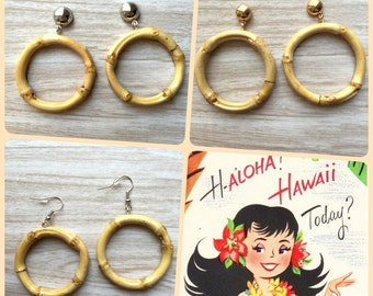 Aloha Hoops  earrings - Tiki Bamboo hoops