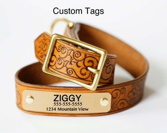 Leather Dog Collar, Tan, Adjustable, Customizable Name Plate