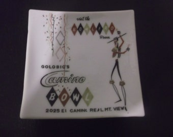 "Vintage Golobic's Camino Bowl ""Visit th Bowlero Room"" Ceramic Ashtray NICE!"