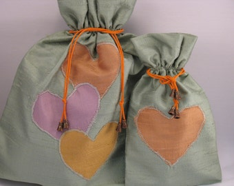 "Duo of bags ""Echo"", light green, purple and orange silk"