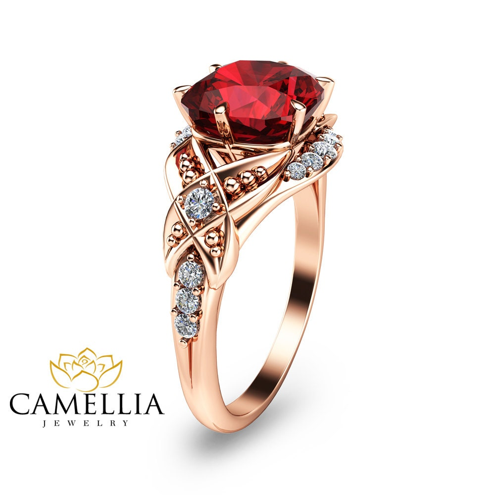 Cushion Cut Ruby Engagement Ring-14K Rose Gold by ...