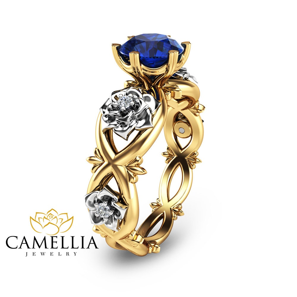 unique engagement ring blue sapphire engagement ring 14k two