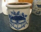 Salt Glaze Pottery Salmon Falls Dover N.H. Blueberry Basket Crock, 1 Quart Stoneware, 1996