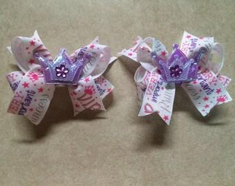 Princess themed pigtail bows