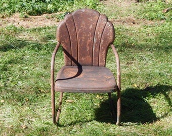 Vintage Metal Lawn Chair - hotel chair - clamshell rocking chair