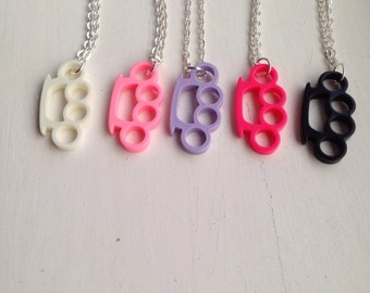 Knuckle Duster Lightweight Necklace Many Colours