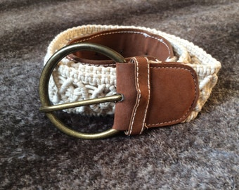 White crochet belt with  buckle
