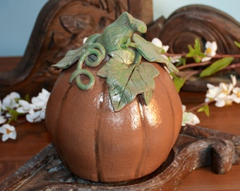 Handmade Ceramic Pumpkin Sculpture