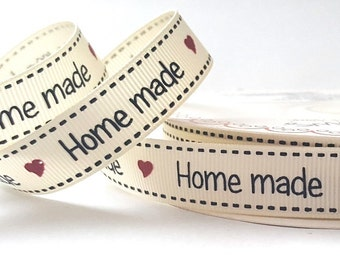 Home made Print on 16mm wide Grosgrain Ribbon *Sold Per Metre*