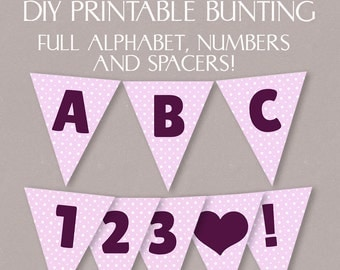 DIY Pink Bunting Printable, Full alphabet, happy birthday bunting, party pink polka dot bunting, diy party banner digital download