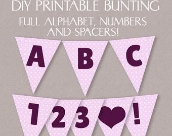 DIY Pink Bunting Printable, Full alphabet, happy birthday bunting, party pink polka dot bunting, diy party banner digital download