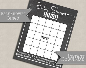 Baby Shower Bingo, Chalkboard Printable baby games, printable games baby showers, baby girl shower, baby boy printable party games S1E1
