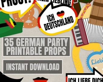 35 German Party Props, Printable German themed photo booth Props, Germany party photobooth ideas, deutschland printable props, party diy
