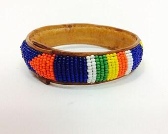 Vintage leather bracelet bead bracelet vintage colorful beaded bracelet boho bracelet boho jewelry vintage glass beads vintage bohemian