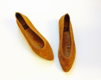 Brown leather flats size 8.5 suede flats womens flats size 8.5 leather shoes brown suede shoes aerosole size 8.5 vintage suede slip on shoes