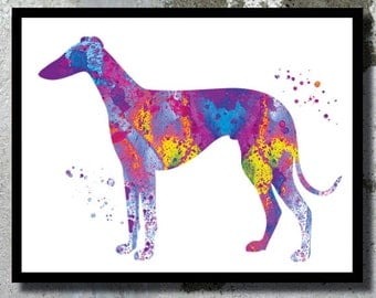 GreyHound Watercolor Art Print Dog Art GreyHound Dog Watercolor Dog Home Decor Watercolor painting Dog Illustration Children's Wall Decor