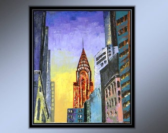 Original Acrylic Painting on Canvas New York Cityscape Chrysler Building