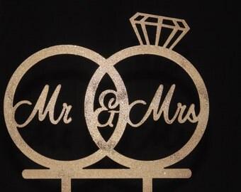 Mr & Mrs Acrylic Wedding Rings Cake Topper