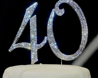 Large Sparkling Silver Rhinestone 40 Happy Birthday Cake Topper by Forbes Favors