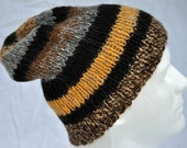Hand Spun, Hand Knit Alpaca Winter Hat. Striped beanie, toque, watch cap, winter cap or ski cap in natural and easter egg dyed alpaca