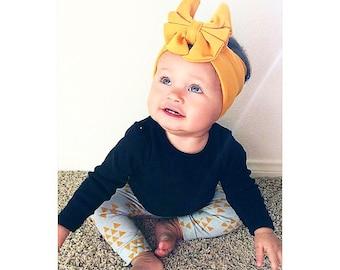 "4"" Mustard Mini Bow Headwrap - Headband"