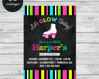 Neon Roller Skating Party Invitation