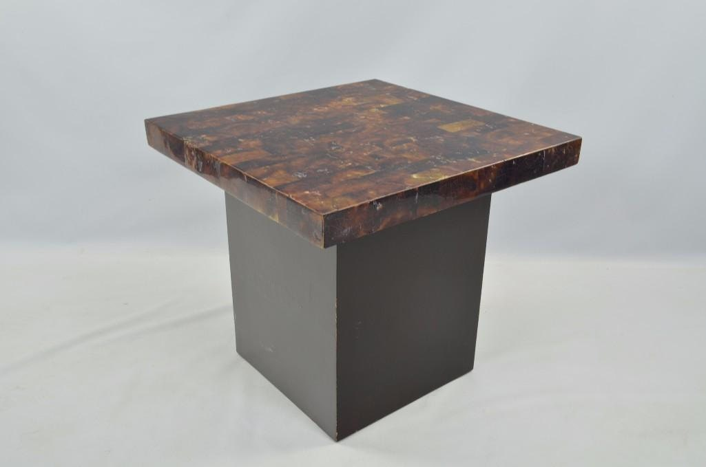 Small Tesselated Top Black Pedestal Side Table Haute Juice