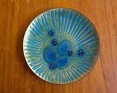 Vintage Mid Century Modern Annemarie Davidson Enamel on Copper Dish Bowl Plate Groovelines Jewels California Blue